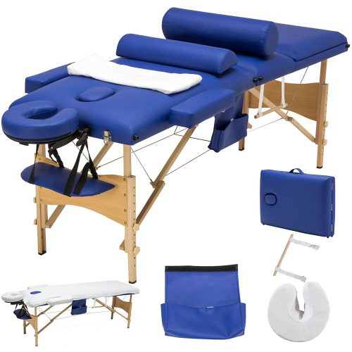 MSG 3 Fold Portable Facial Bed Massage Table Sheet+2 Bolsters+Cradle+Hanger Blue