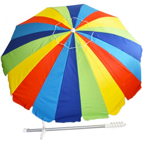 Biga 7.5FT Large Canopy for More Sun Protection Lightweight Beach Umbrella, Rainbow