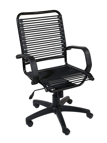 Eurø Style Bradley Bungie High Back Adjustable Office Chair with Arms, Black Bungies with Graphite Black Frame