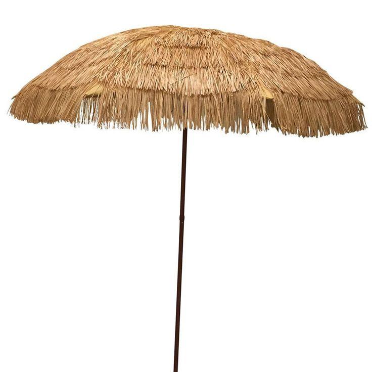 8′ Hula Umbrella 16 Fiberglass Ribs Covered w/ Beige Raffia