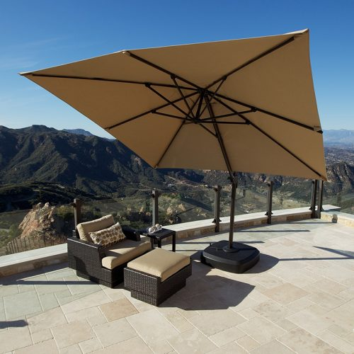 Portofino Signature Resort Umbrella 10′ X 10′ Sunbrella® Fabric Canopy and Swivel Base. Cover Included