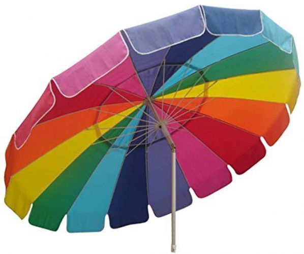 Rainbow UVP50+ Beach Umbrella with Teflon-Coated Weatherproof Polyester Cover + Carry Bag