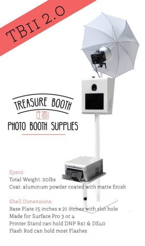 Treasure Booth TB11 2.0 with Printer Stand & Flash Rod - portable photo booth