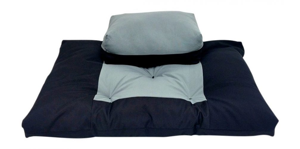 2pc Set - Black/Gray Zabuton Zafu for Yoga and Meditation - Thick and Overfilled Seat Cushion - Exclusively by Blowout Bedding RN# 142035 -
