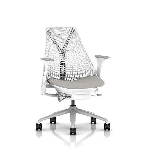 Herman Miller Sayl Task Chair: Tilt Limiter – Stationary Seat Depth – Stationary Arms – Standard Carpet Casters – Fog Base / Studio White Frame