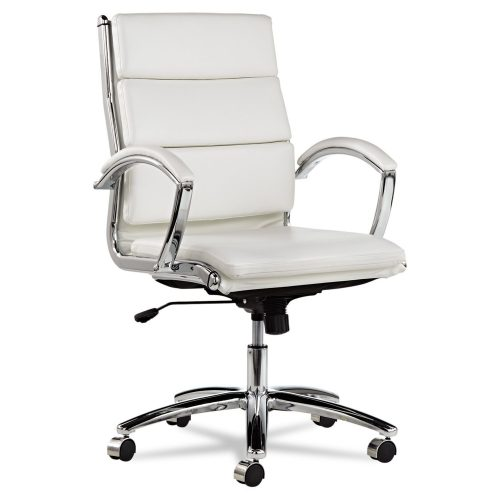 Alera Neratoli Mid-Back Swivel/Tilt Chair, White Faux Leather - Reclining Office Chair