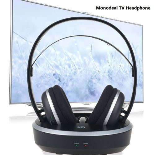 Wireless Universal TV Headphones, Monodeal Over-Ear Stereo RF Headphones With Charging Dock