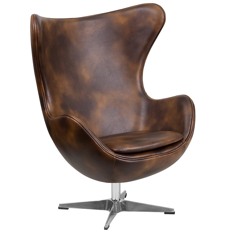 Bomber Jacket Leather Egg Chair with Tilt-Lock Mechanism - Egg Chair
