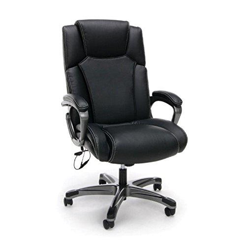 Essentials Massage Office, Computer, or Gaming Chair – Heated Shiatsu Plush Leather Executive Chair, Black (ESS-6035M) - Reclining Office Chair