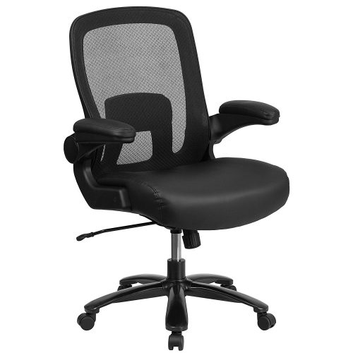 Rated Black Leather Executive Swivel Chair With Arms
