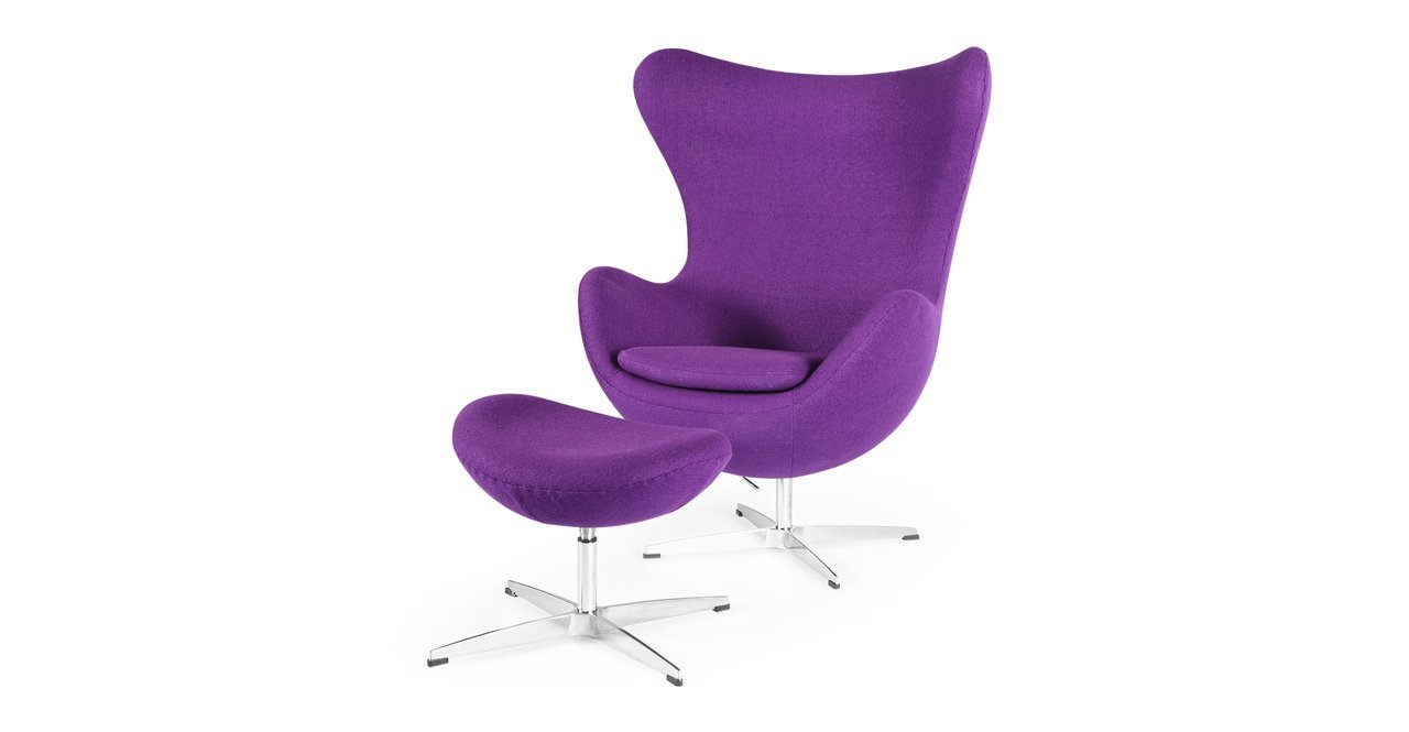 Kardiel Amoeba Chair & Ottoman, Purple Boucle Cashmere Wool - Egg Chair