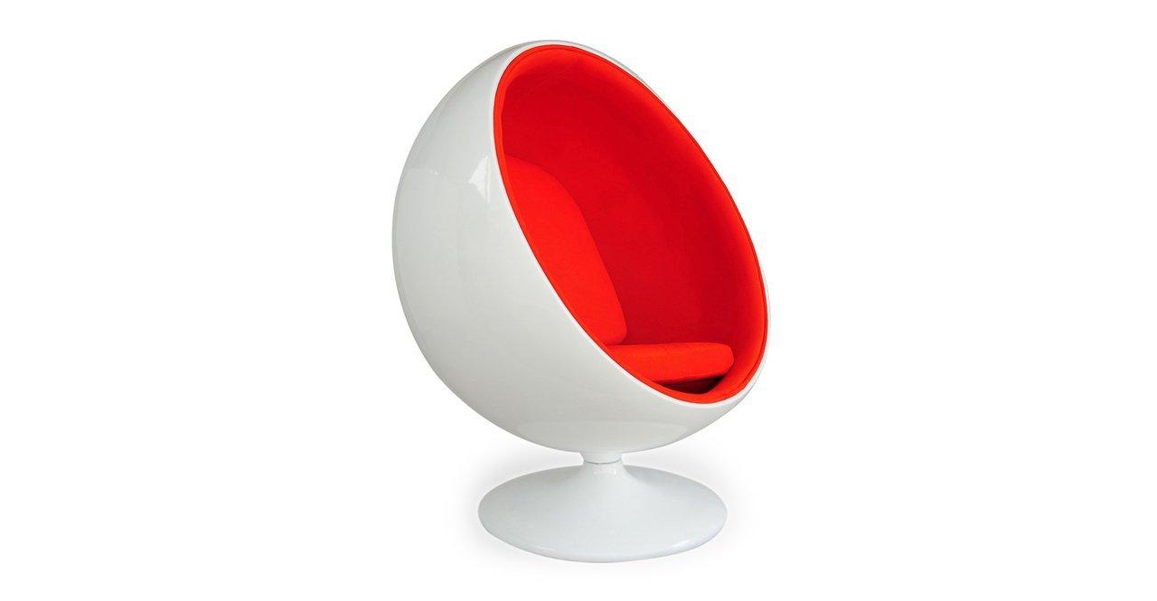 Kardiel Modern Ball Chair, White Fiberglass, Orange - Egg Chair