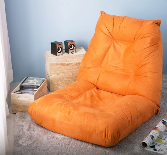 Merax Adjustable 5-Position Floor Chair Folding Lazy Sofa Floor Sofa Chair Cushion Orange -
