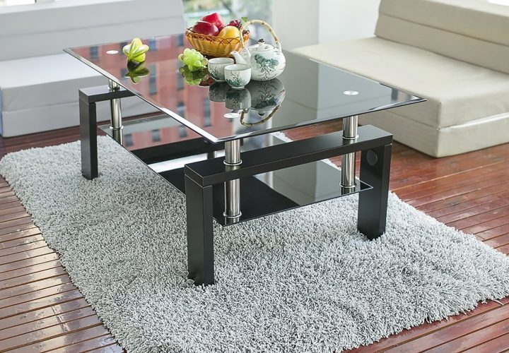Merax Black Highlight Glass Top Cocktail Coffee Table with Wooden Legs