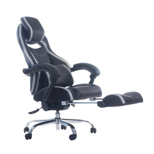 Merax Racing Style Executive PU Leather Swivel Chair With Footrest And Back  Support Reclining (Blue