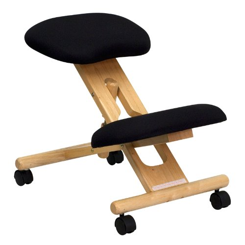 Mobile Wooden Ergonomic Kneeling Chair in Black Fabric -