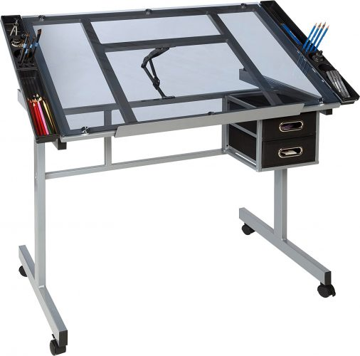 OneSpace 50-CS01 Craft Station, Silver with Blue Glass - Drawing Table