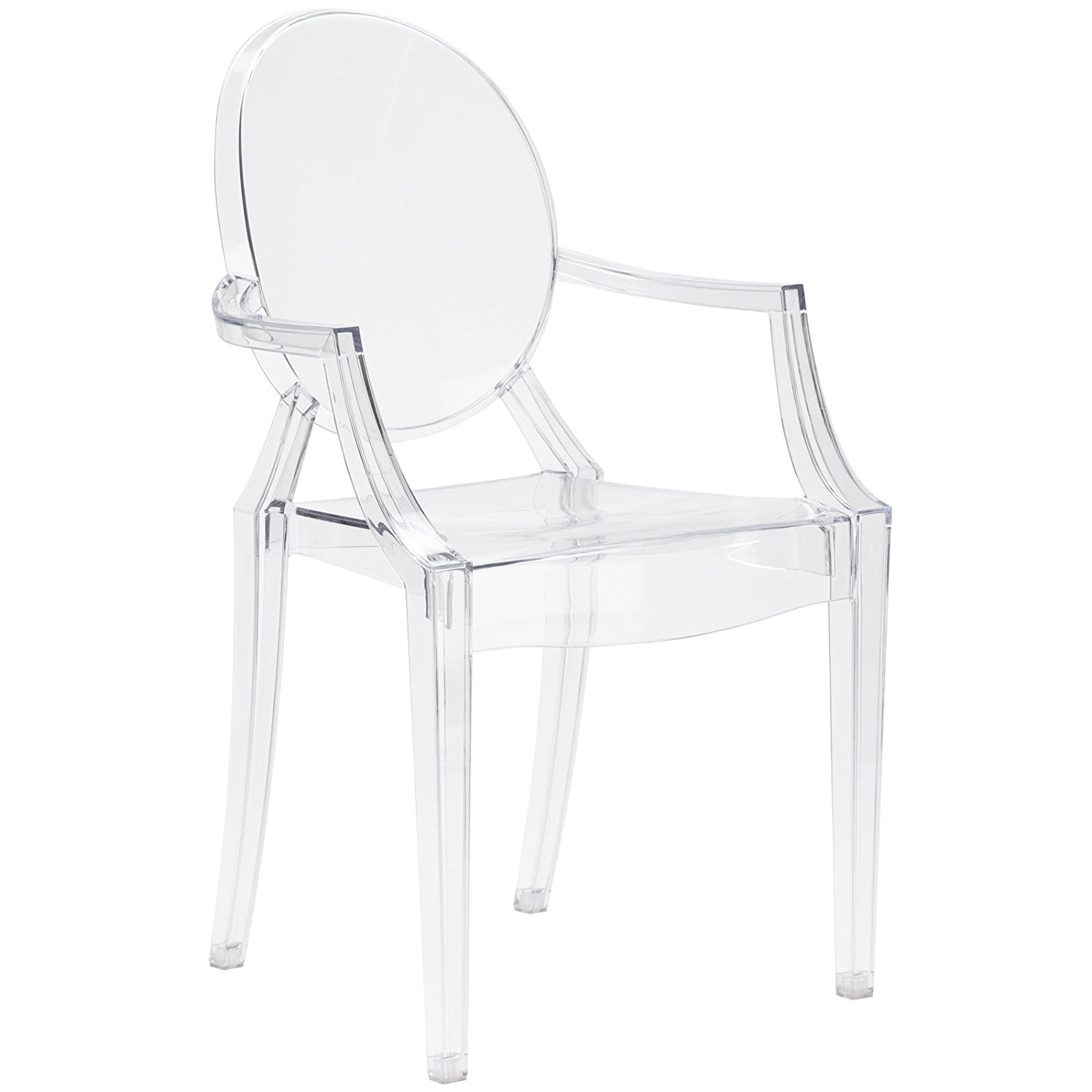 Poly and Bark Louis Ghost Style Arm Chair, Clear - Plastic Chairs