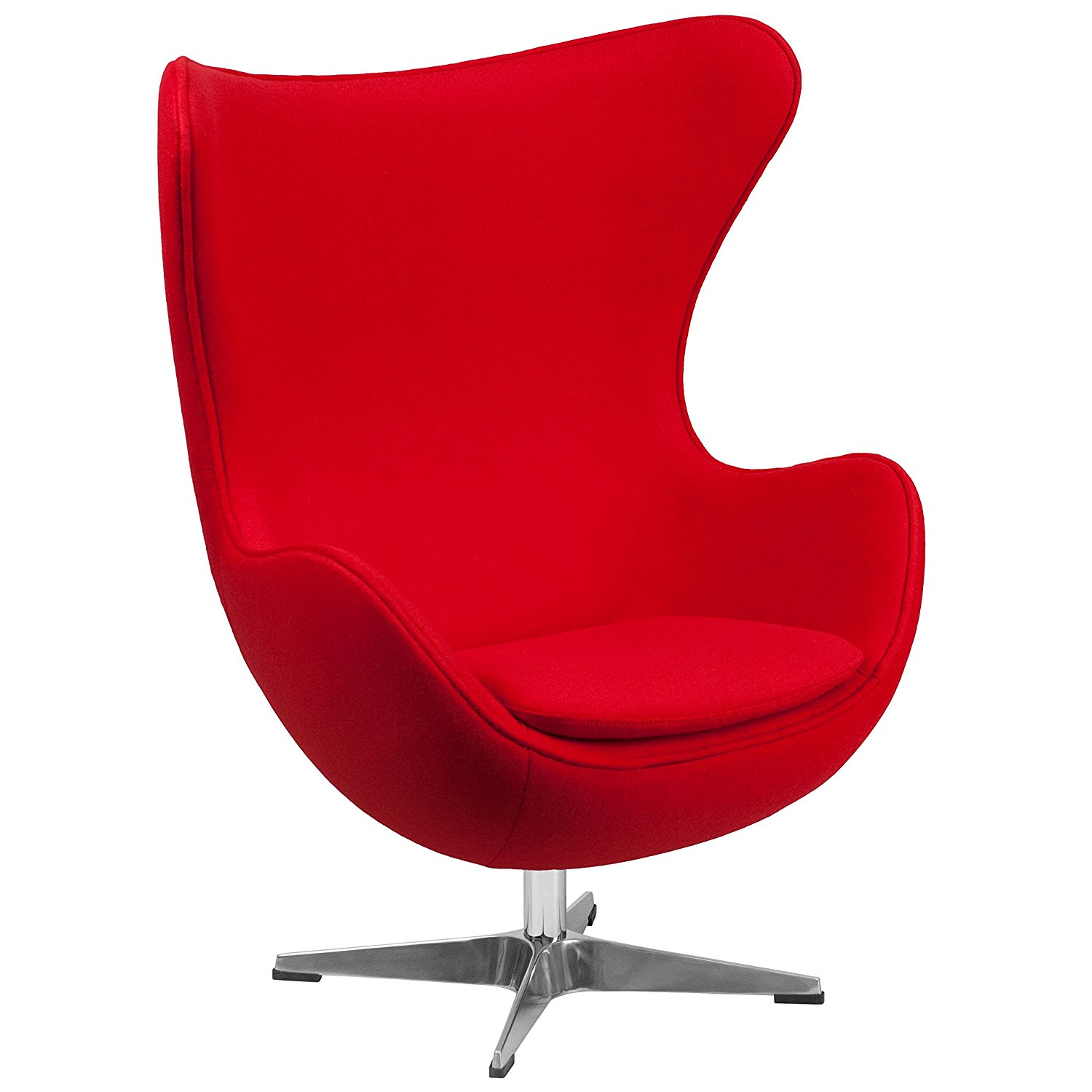 Red Wool Fabric Egg Chair with Tilt-Lock Mechanism - Egg Chair