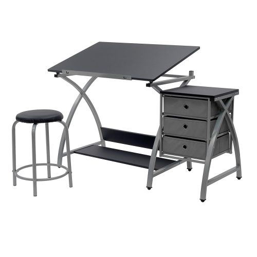 STUDIO DESIGNS Comet Center with Stool Silver / Black 13325 - Drawing Table