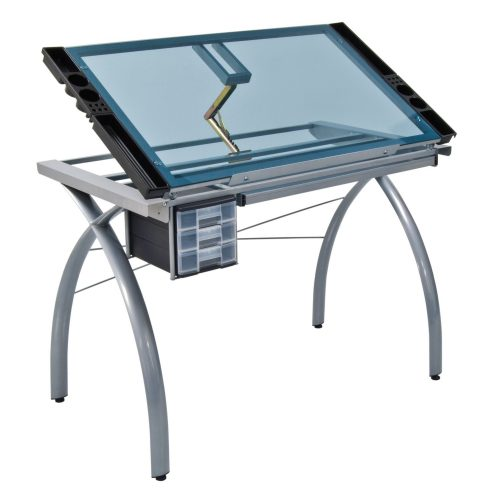 Studio Designs 10050 Futura Craft Station, Silver/BlueGlass - Drawing Table