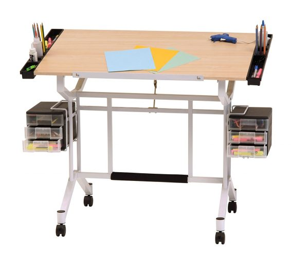 Studio Designs Pro Craft Station in White with Maple 13245 - Drawing Table