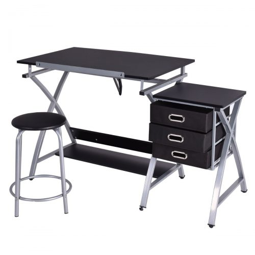 Tangkula Drafting Table Art & Craft Drawing Desk Art Hobby Folding Adjustable w/ Stool - Drawing Table
