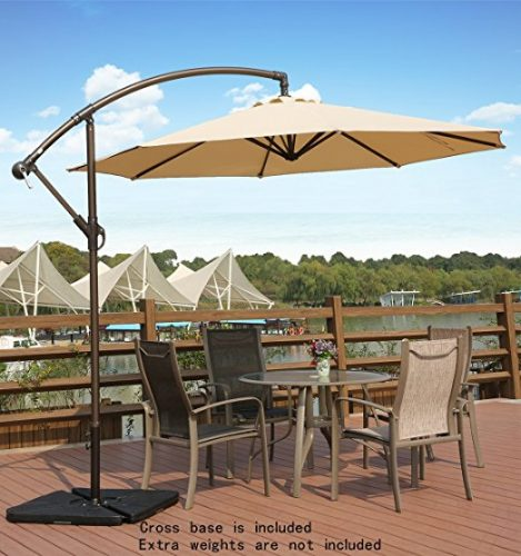 AMT Adjustable Offset Cantilever Hanging 10' Patio Umbrella - Offset Patio Umbrellas