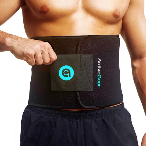 ActiveGear Premium Waist Trimmer Belt Slim Body Sweat Wrap for Stomach and Back Lumbar Support - Abs Belts