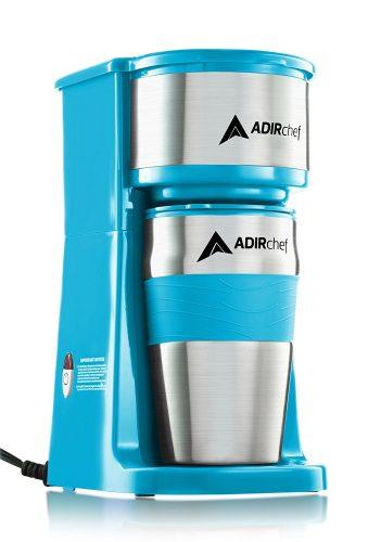 AdirChef Grab N' Go Personal Coffee Maker with 15 oz. Travel Mug (Crystal Blue) - Single Cup Maker