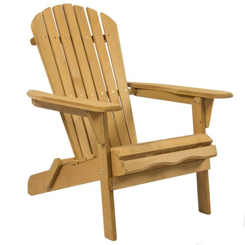 Best Choice Products SKY2253 Outdoor Patio Lawn Deck Foldable Adirondack Wood Chair - Patio Chairs