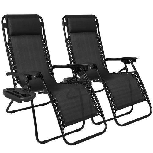 Best Choice Products Zero Gravity Chairs Case Of (2) Black Lounge Patio Chairs Outdoor Yard Beach New - Patio Chairs