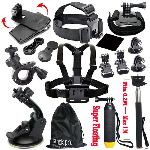 Black Pro Basic Common Outdoor Sports Kit for GoPro HERO 5/Session5/ 4 / 3+ / 3 / 2 / 1 SJ4000 /5000/ 6000 /AKASO/ APEMAN/ DBPOWER/ And Sony Sports DV and More - Best GoPro Head Mount