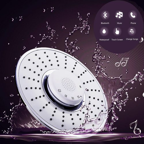 Bluetooth Shower Head, FATA FAMA Touch-sensitive Chrome Plated Top Spray Rain Shower Head Jet with Wireless Bluetooth Speaker Audio Box Built-in Mic to Play Music & Answer Calls - Bluetooth Wireless Shower Heads