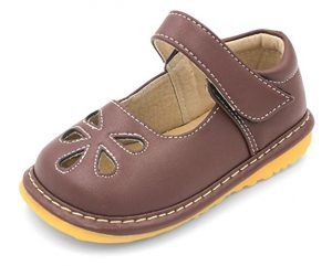 Brown Flower Punch Mary Jane Toddler Girl Squeaky Shoes - Walking Shoes for Kid