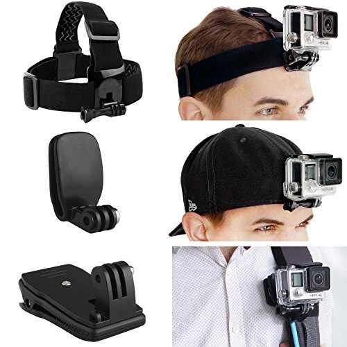 CamKix Head and Backpack Mount Bundle for GoPro Hero 5, Black, Session, Hero 4, Session, Black, Silver, Hero+ LCD, 3+, 3, 2, 1 - incl. Head Strap Mount / Hat Quick Clip Mount / Backpack Clip Mount - Best GoPro Head Mount