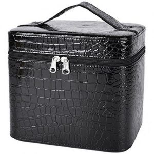 Coofit Beauty Box Crocodile Pattern Leather Makeup Case for Women Large - Makeup Train Cases
