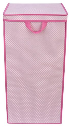 Delta Children Tall Nursery Clothing Hamper, Barely Pink Polka Dot - Nursery Hampers