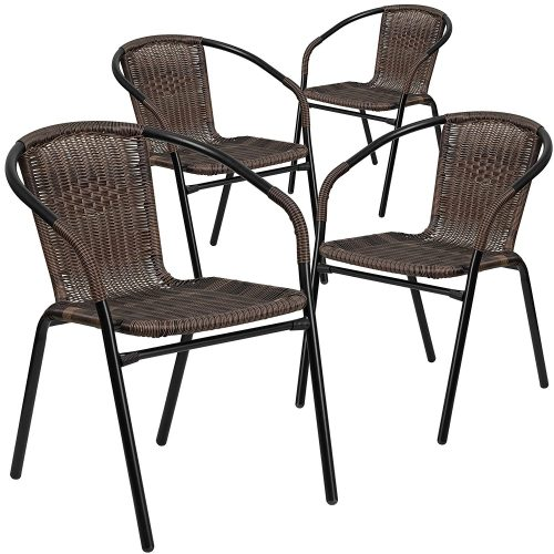 Flash Furniture 4 Pk. Dark Brown Rattan Indoor-Outdoor Restaurant Stack Chair - Patio Chairs