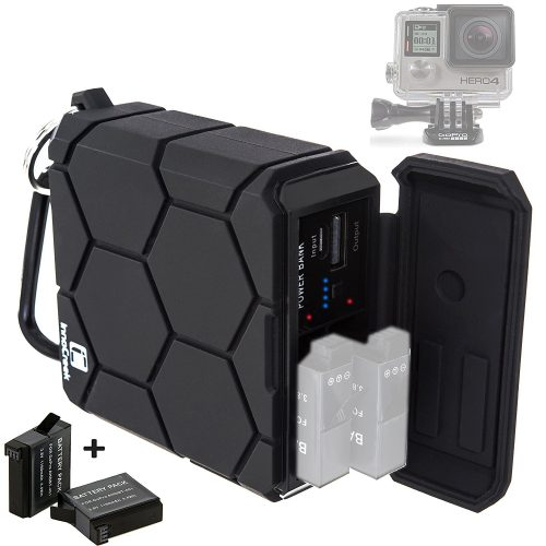 GoPro HERO4 Black / Silver Portable Outdoor Charger (Includes 2x Battery AHDBT-401) - 5200mAh Rechargeable Power Bank - Waterproof Shockproof Rugged - 5V/2.1A USB Output for Phone, Tablet, and Camera - GoPro External batteries