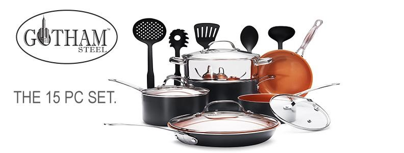 Gotham Steel Ultimate 15 Piece All in One Chef's Kitchen Set with Non-Stick Ti-Cerama Copper Coating - pots pans sets