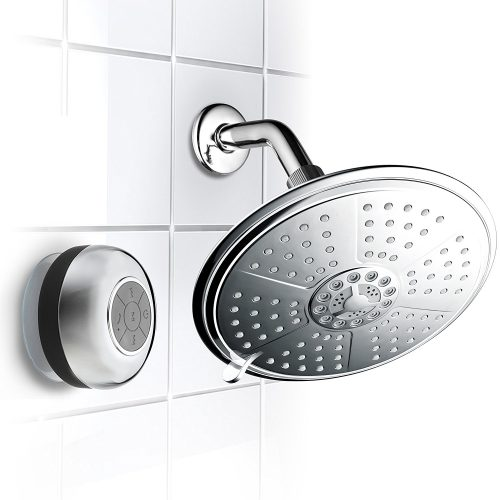 HotelSpa Cool Shower Ultra-Luxury 7-Setting 7 Inch Rainfall Shower-Head with Matching Chrome Waterproof Bluetooth Shower Speaker - Bluetooth Wireless Shower Heads