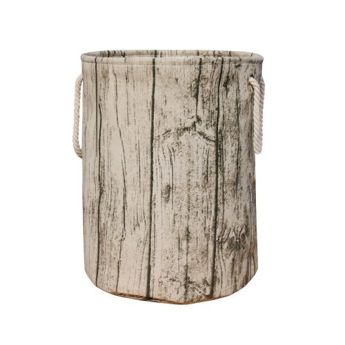 Jacone Stylish Tree Stump Shape Design Storage Basket Cotton Fabric Washable Cylindric Laundry Hamper with Rope Handles - Nursery Hampers