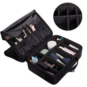 KARMAS PRODUCT Middle Size Backpack Cosmetic Organizer Bag Portable Mini Makeup Train Case Black Pink - Makeup Train Cases