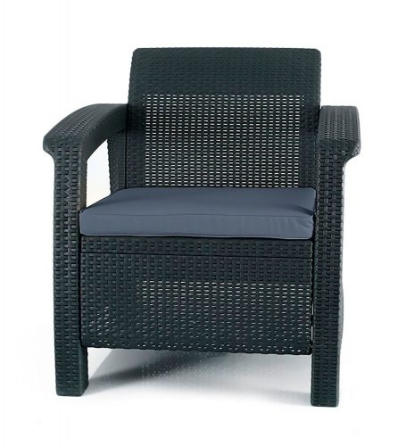 Keter Corfu Armchair All Weather Outdoor Patio Garden Furniture with Cushions, Charcoal - Patio Chairs