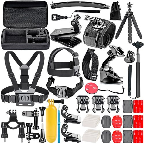 Neewer 50-In-1 Action Camera Accessory Kit for GoPro Hero Session/5 Hero 1 2 3 3+ 4 5 SJ4000 5000 6000 DBPOWER AKASO VicTsing APEMAN WiMiUS Rollei QUMOX Lightdow Campark And Sony Sports DV and More - GoPro accessories Kit