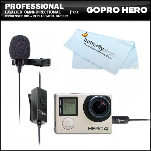 Professional lavalier (lapel) omni directional condenser microphone  Action camera - GoPro External Microphone