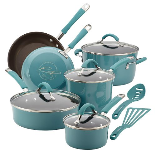Rachael Ray Cucina Hard Porcelain Enamel Nonstick Cookware Set, 12-Piece, Agave Blue - pots pans sets