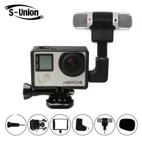 S-Union New Frame Housing Case + External Microphone + Adapter Kit for GoPro Hero 3 4  - GoPro External Microphone