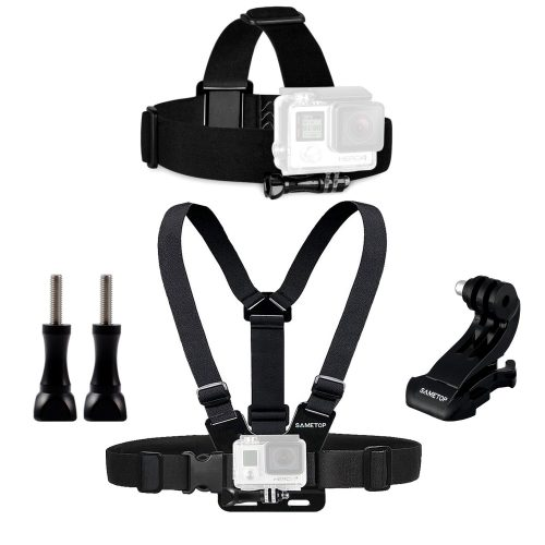 Sametop Chest Mount Harness Chesty + Head Mount Strap for GoPro Hero 5, 4, Session, 3+, 3, 2, 1 Cameras - Best GoPro Head Mount